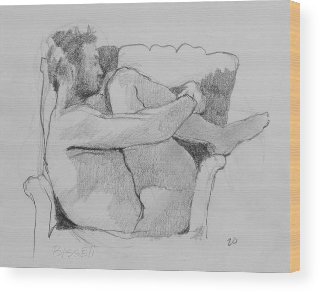 Life Wood Print featuring the drawing Seated Nude 1 by Robert Bissett