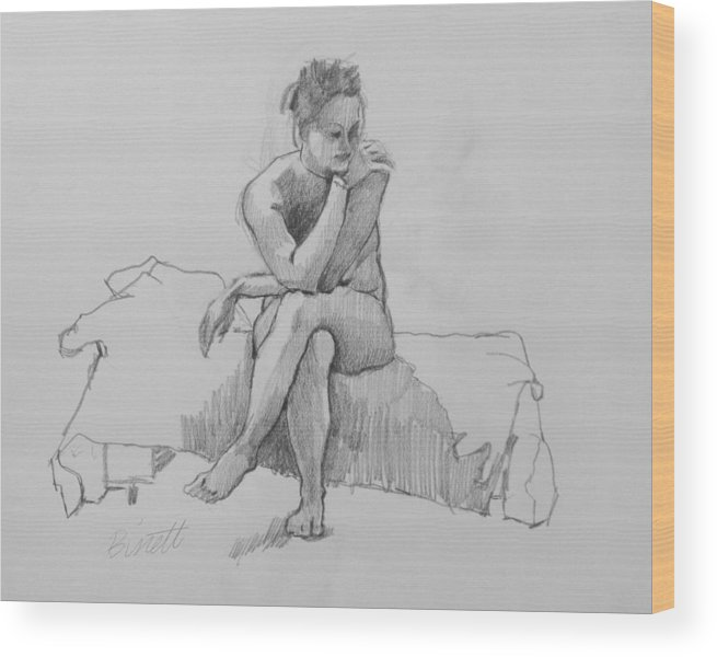 Life Wood Print featuring the drawing Seated Nude 2 by Robert Bissett