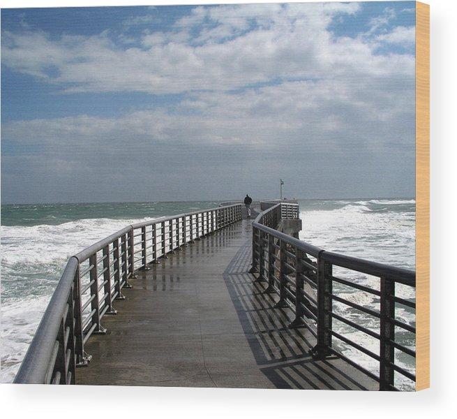 Walk; Solitary; Lonely; Sebastian; Inlet; Florida; Sea; Ocean; Water; Surf; Atlantic; Jetty; Waves; Wood Print featuring the photograph Sebastian Inlet On The Atlantic Coast Of Florida by Allan Hughes