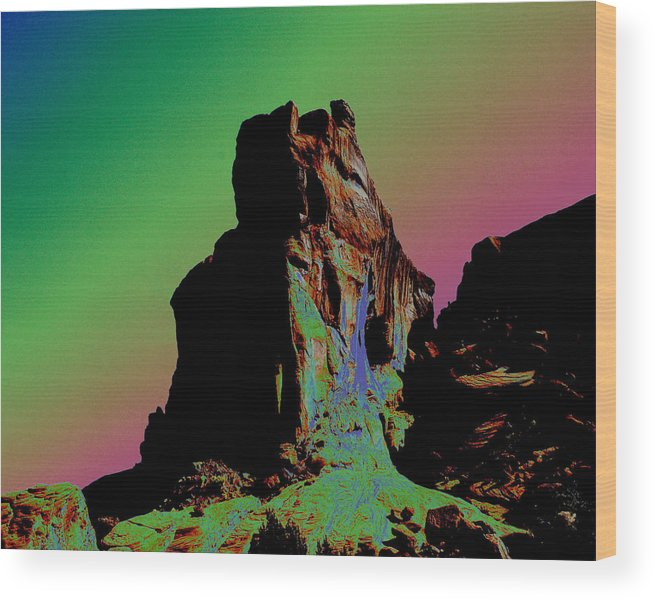 Sedona Wood Print featuring the photograph Sedona Solarized by Barry Shaffer
