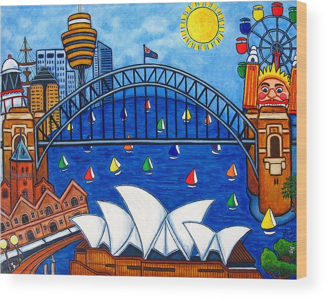 House Wood Print featuring the painting Sensational Sydney by Lisa Lorenz