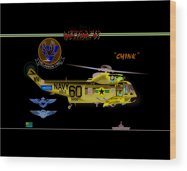 Wood Print featuring the digital art Sh-3a Seaking From Hs-2 by Mike Ray