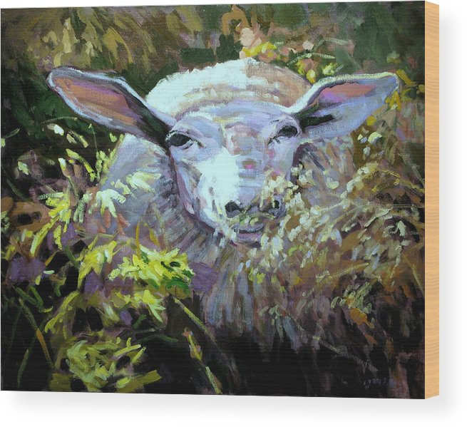 Animals Wood Print featuring the painting Sheepish by Brian Simons