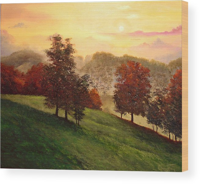 A Painting A Day Wood Print featuring the painting Shenandoah Valley Sunrise by Connie Tom