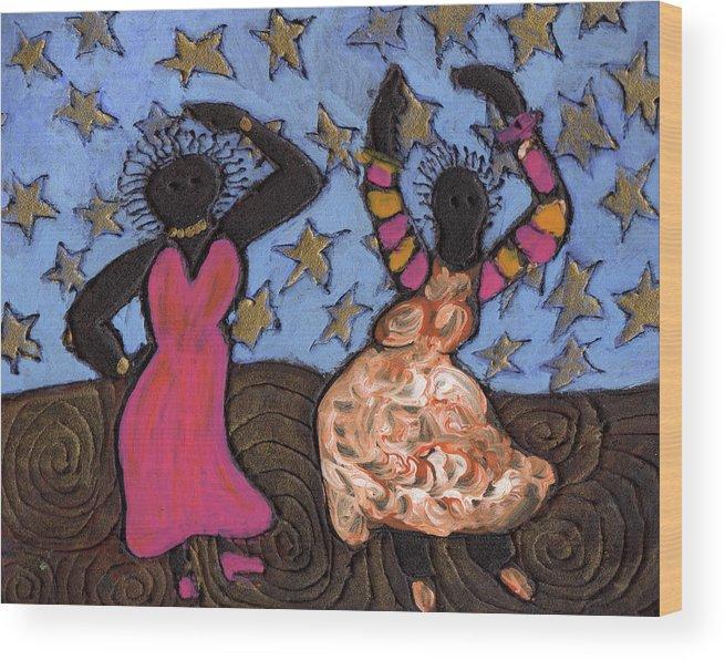 Folk Art Wood Print featuring the painting Sisters Sarah Sue And Sally Mae Swinging The Night Away by Wayne Potrafka