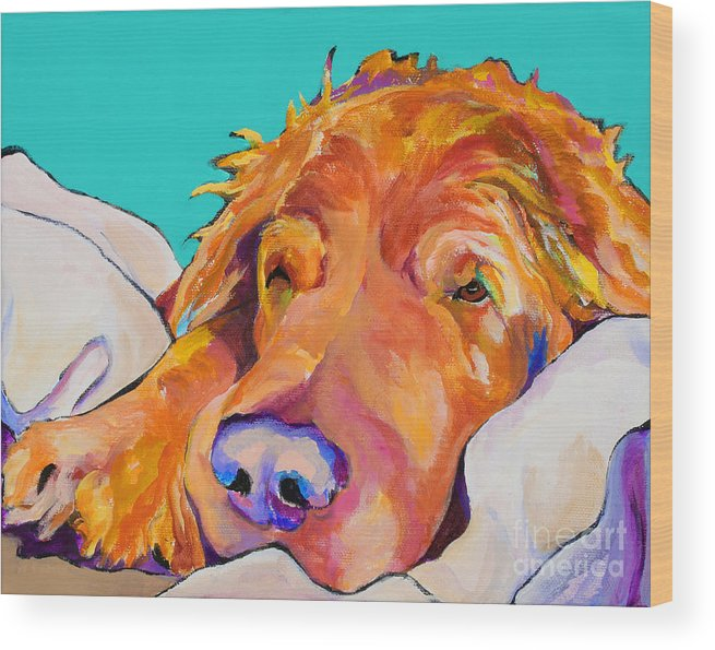 Dog Poortraits Wood Print featuring the painting Snoozer King by Pat Saunders-White