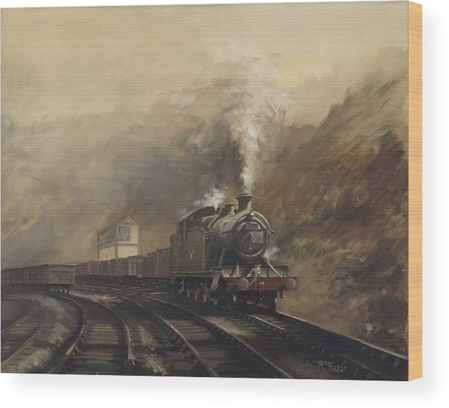 Steam Wood Print featuring the painting South Wales Coal Train by Richard Picton
