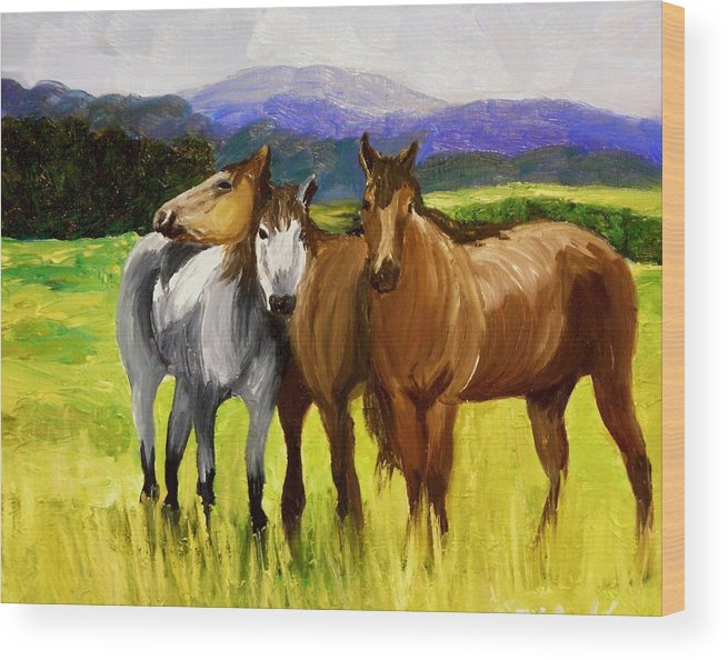 Horses Wood Print featuring the painting Southern Boys by Michael Lee