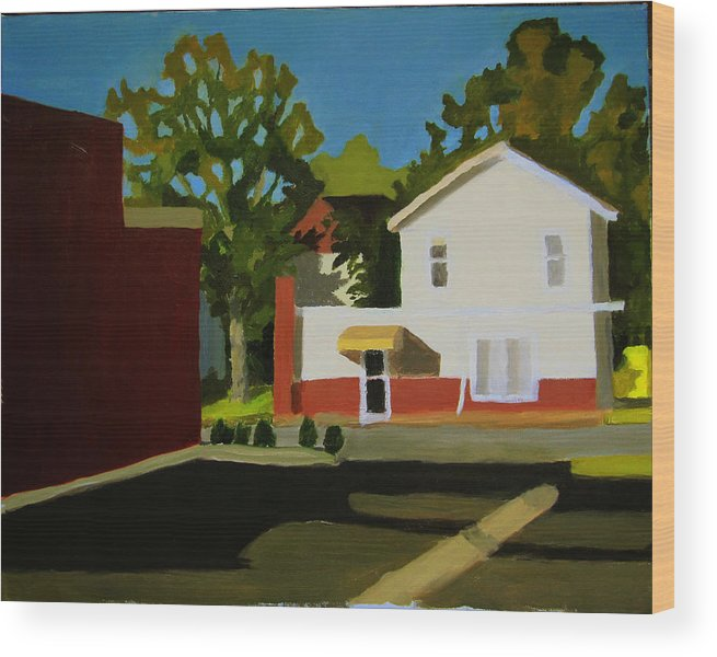 Landscape Wood Print featuring the painting Southern Management East Hill Pensacola by Jahna Jacobson