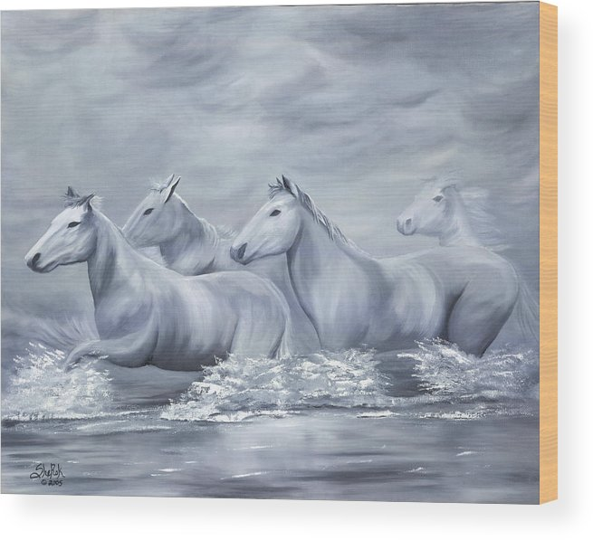 Horses Wood Print featuring the painting Spirit by SheRok Williams