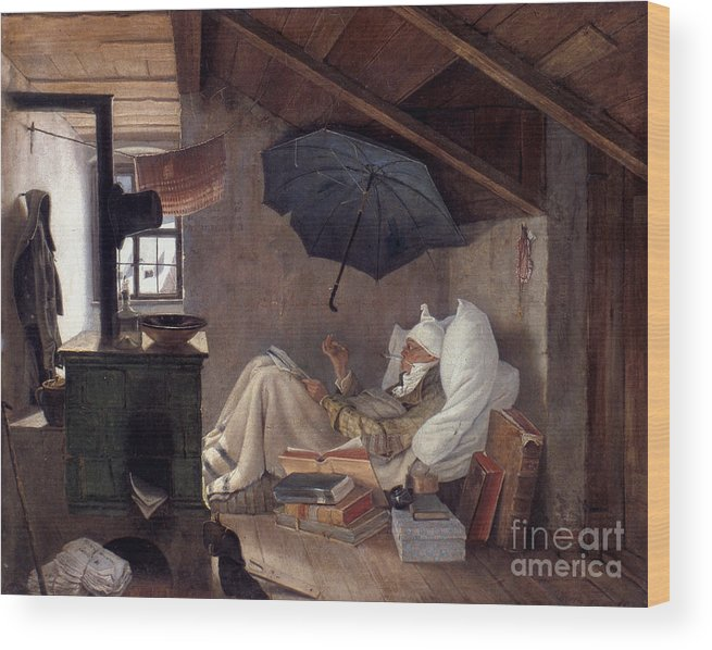 19th Century Wood Print featuring the photograph Spitzweg: Poor Poet, 1839 by Granger