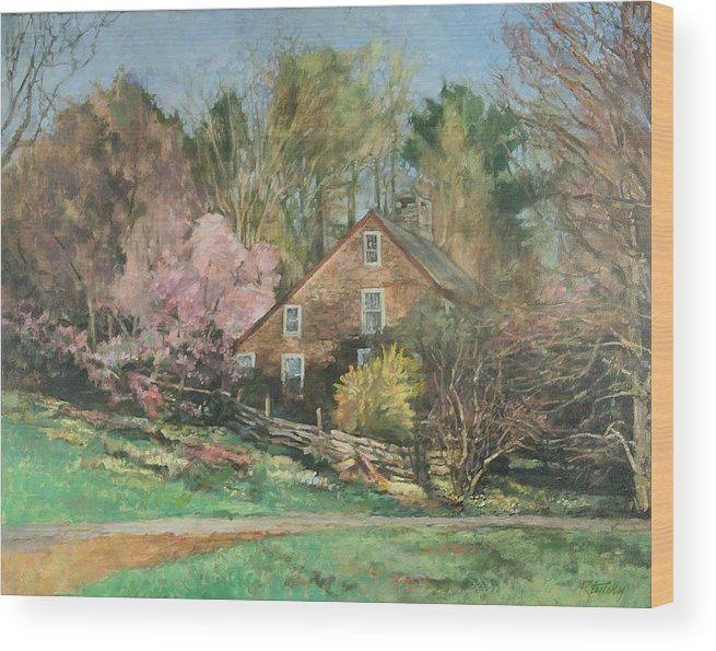 Spring Wood Print featuring the painting Springtime On Longhill by Robert Tutsky