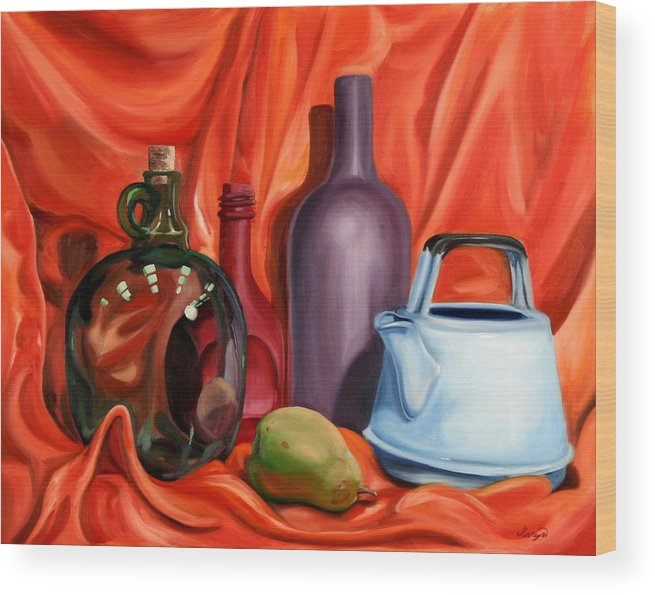 Still Life Wood Print featuring the painting Still Life With Pear by Maryn Crawford