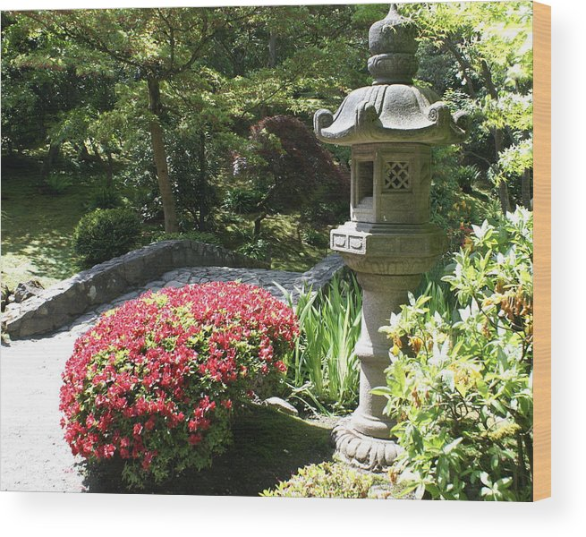 Asian Wood Print featuring the photograph Stone Bridge With Asian Lantern by Sonja Anderson