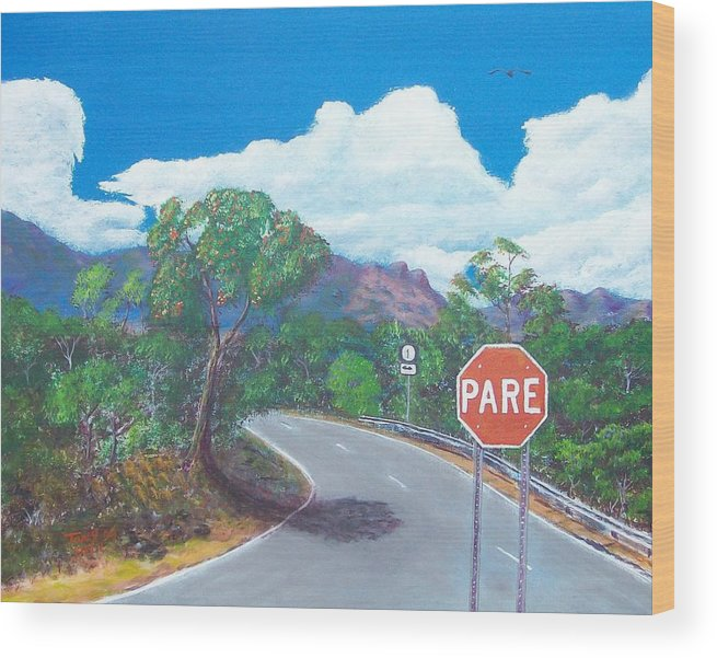Landscape Wood Print featuring the painting Stop Sign by Tony Rodriguez