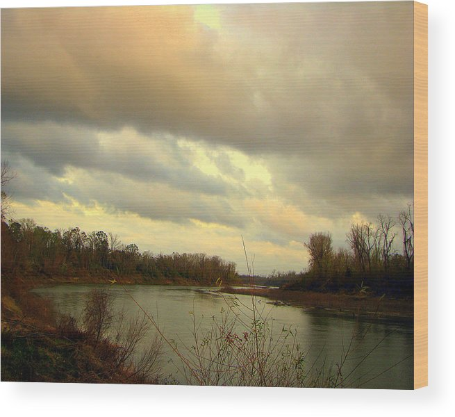 River Wood Print featuring the photograph Stormy River by Dottie Dees