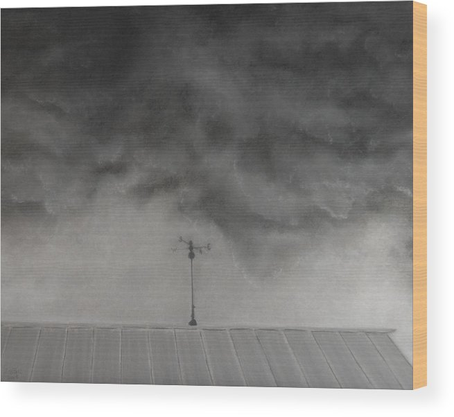 Sky Wood Print featuring the painting Stormy Sky by Lisa Bell