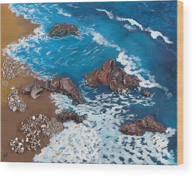 Seascape Wood Print featuring the painting Strength by Helene Lagoudakis