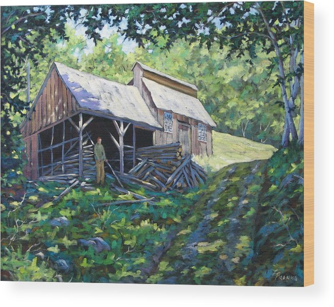 Sugar Shack Wood Print featuring the painting Sugar Shack In July by Richard T Pranke