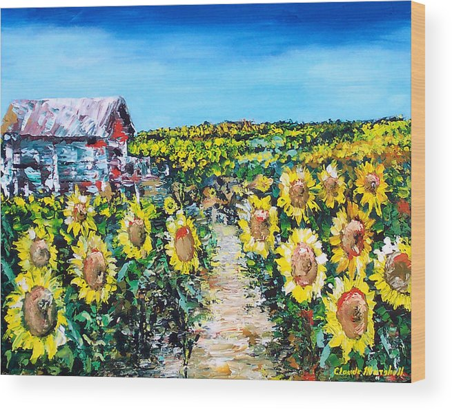 Art Wood Print featuring the painting Sunflowers by Claude Marshall