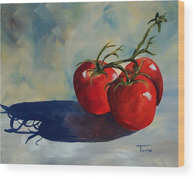 Tomato Wood Print featuring the painting Sunlit Tomatoes by Torrie Smiley