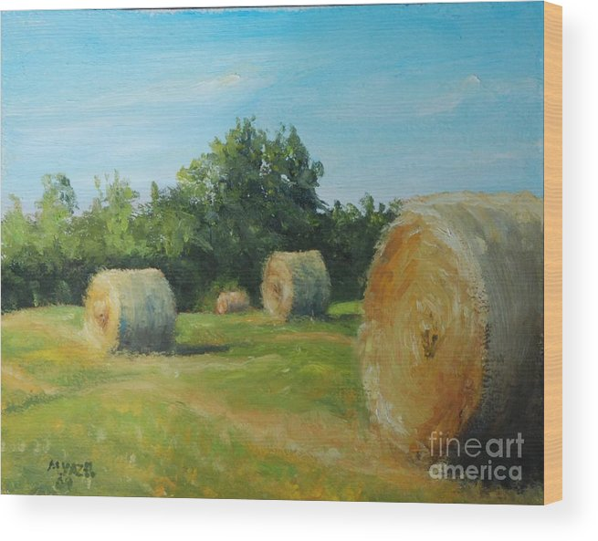 Landscape Wood Print featuring the painting Sunner Harvest by Mike Yazel
