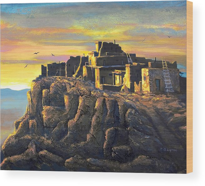 Landscape Wood Print featuring the painting Sunrise Citadel by Brooke Lyman