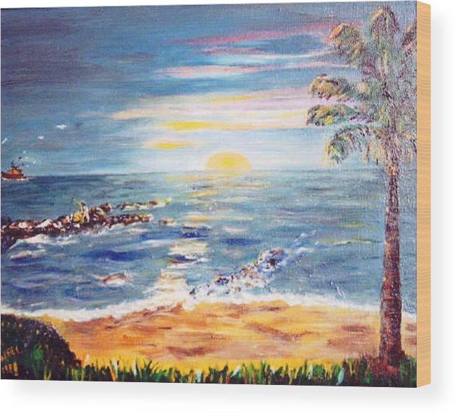 Sun Wood Print featuring the painting Sunrise by Gloria M Apfel