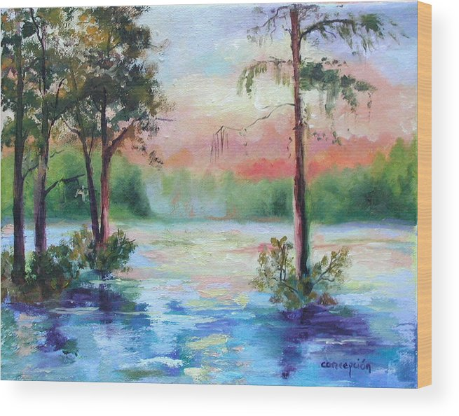 Sunset Wood Print featuring the painting Sunset Bayou by Ginger Concepcion