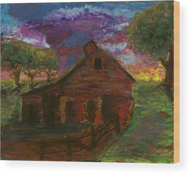 Barn Wood Print featuring the painting Sunset On The Farm by Davis Elliott