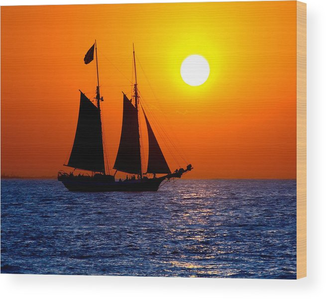 Yellow Wood Print featuring the photograph Sunset Sailing In Key West Florida by Michael Bessler