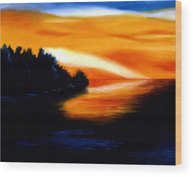 Pop Art Wood Print featuring the painting Sunset by Tak Salmastyan