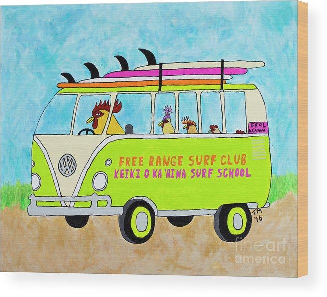 Vw Bus Wood Print featuring the painting Surf School by Tami Maldonado
