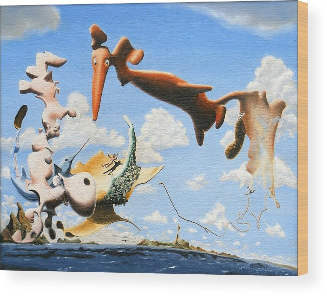 Surreal Wood Print featuring the painting Surreal Friends by Dave Martsolf