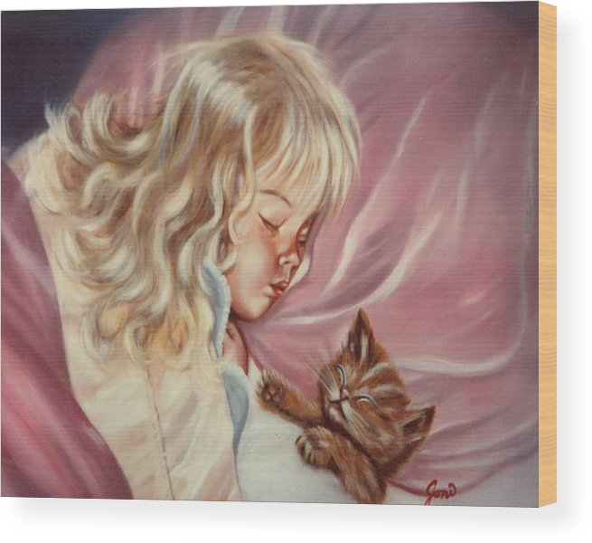 Portrait Wood Print featuring the painting Sweet Dreams by Joni McPherson