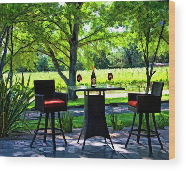 Winery Wood Print featuring the digital art Table For Two by Patricia Stalter