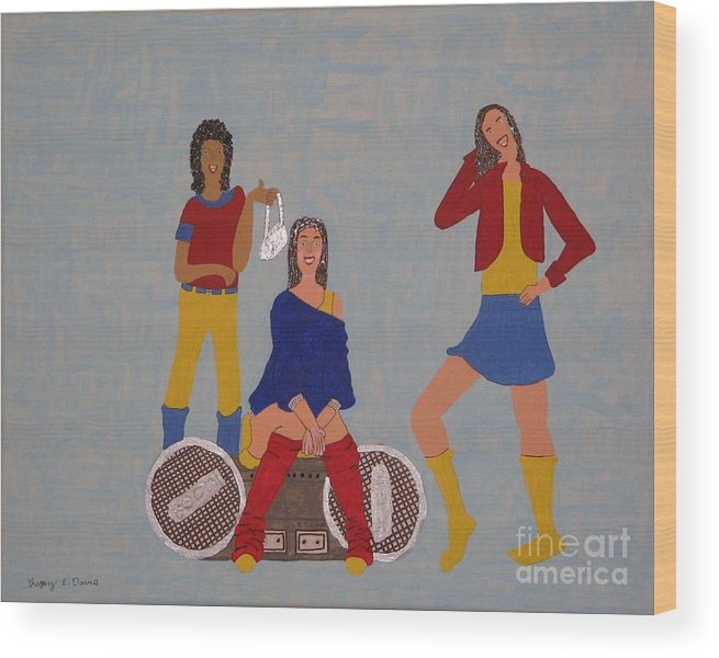 Girls Wood Print featuring the painting Takeing A Break by Gregory Davis