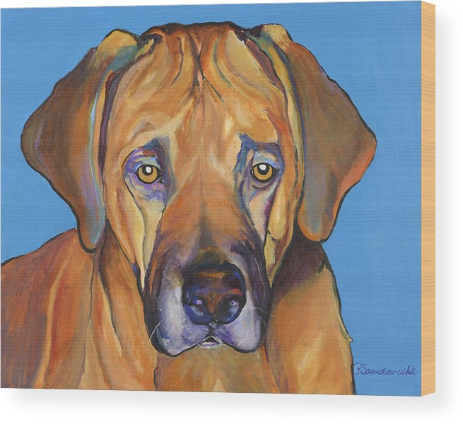 Rhodesian Ridgeback Dog Ridgeback African Colorful Orange Gold Yellow Red Wood Print featuring the painting Talen by Pat Saunders-White