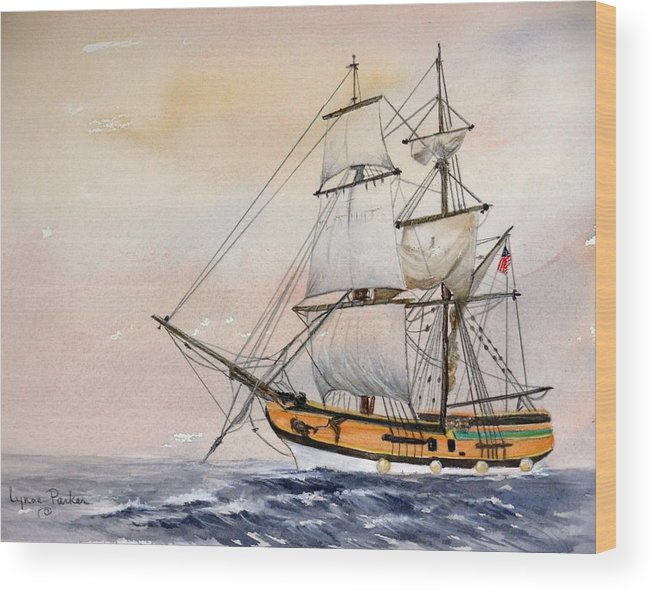 Lady Washington Wood Print featuring the painting Tall Masted Ship by Lynne Parker