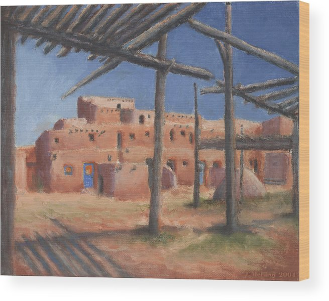 Taos Wood Print featuring the painting Taos Pueblo by Jerry McElroy