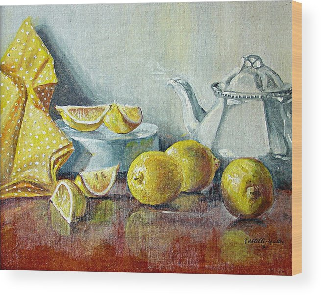 Tea Wood Print featuring the painting Tea With Lemon by JoAnne Castelli-Castor