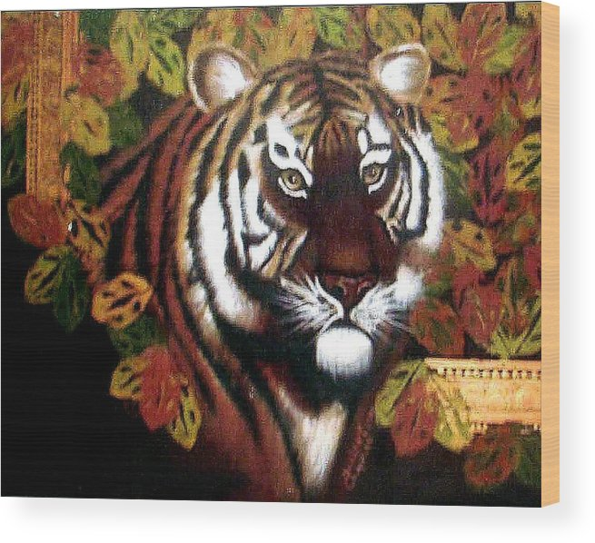 Tiger Wood Print featuring the painting Tessas Tiger by Darlene Green