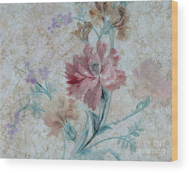 Writermore Wood Print featuring the mixed media Textured Florals No.1 by Writermore Arts
