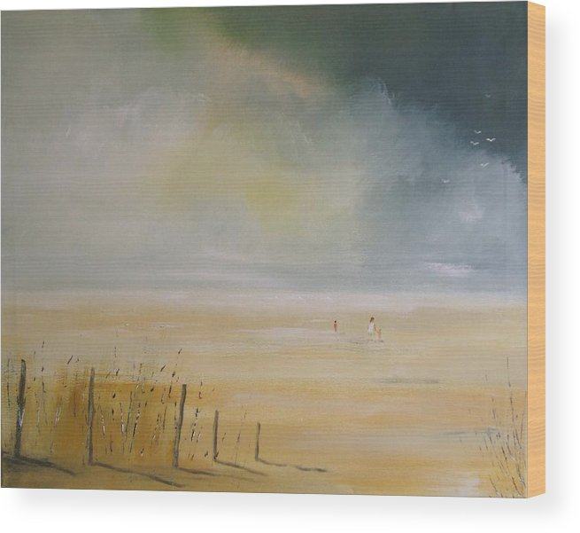 Beach Wood Print featuring the painting The Beach by Andy Davis