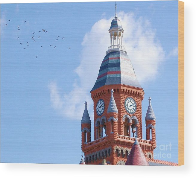 Clock Wood Print featuring the photograph The Birds by Debbi Granruth