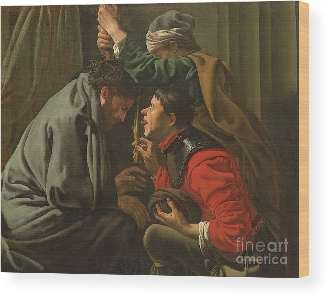 Crown Wood Print featuring the painting The Crowning With Thorns And The Mocking Of Christ by Hendrick Ter Brugghen