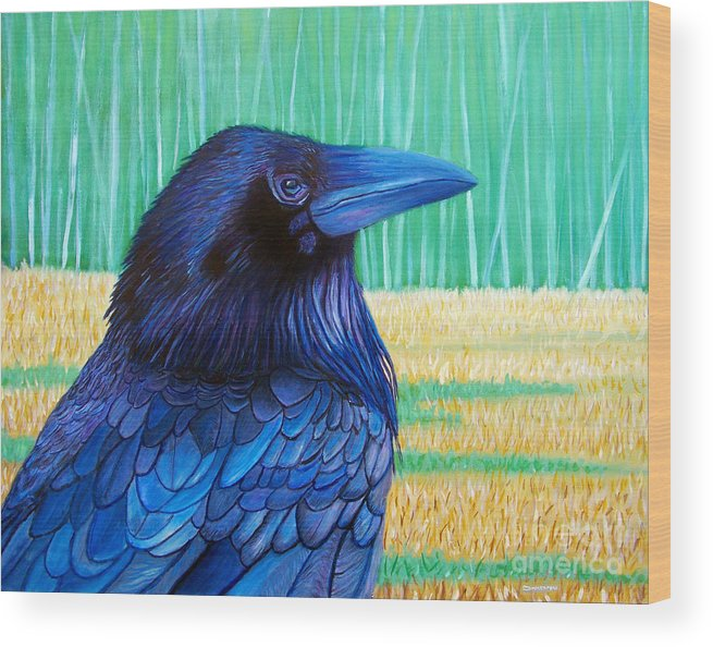 Raven Wood Print featuring the painting The Field Of Dreams by Brian Commerford