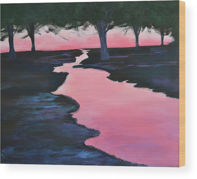 Landscape Wood Print featuring the painting The Journey by Sheryl Sutherland