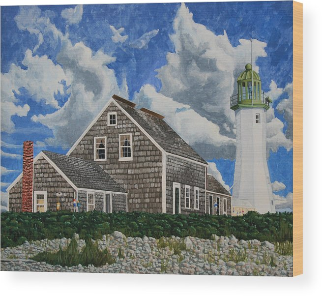 Lighthouse Wood Print featuring the painting The Light Keeper's House by Dominic White