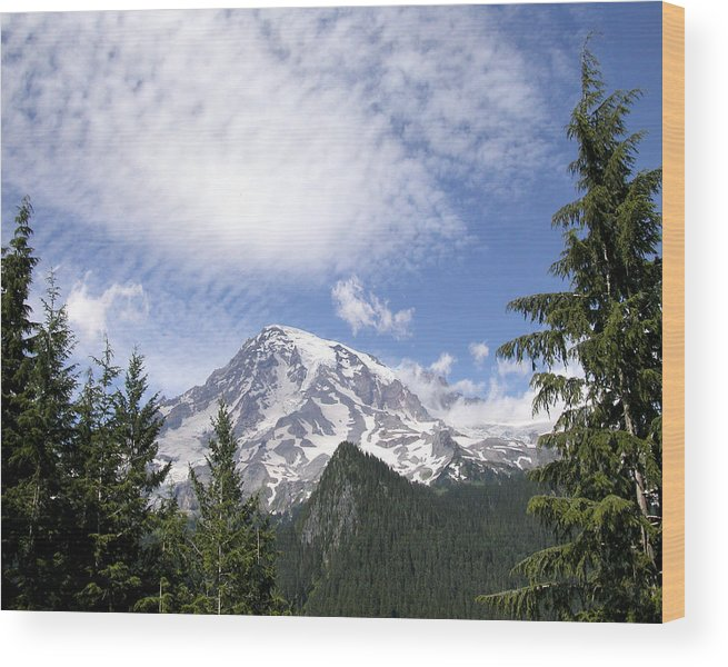 Mountain Wood Print featuring the photograph The Mountain Mt Rainier Washington by Michael Bessler